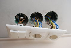 Soquetes e interruptores nivelados Fotografia de Stock Royalty Free