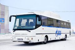 SOR CG12 Arktika. PANGODY, RUSSIA - FEBRUARY 4, 2013: White SOR CG12 Arktika interurban coach ran on a gas fuel at the city street Royalty Free Stock Images