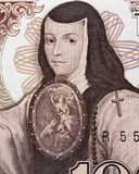 Sor Juana Ines de la Cruz portrait on Mexico 1000 pesos 1985 b Royalty Free Stock Images