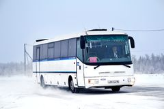 SOR LC10.5 Arktika. PANGODY, RUSSIA - DECEMBER 1, 2012: White SOR LC10.5 Arktika interurban coach at the city street Royalty Free Stock Photos