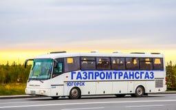 SOR LH10.5 Arktika. NOVYY URENGOY, RUSSIA - AUGUST 31, 2012: Interurban coach SOR LH10.5 Arktika at the city street stock photography