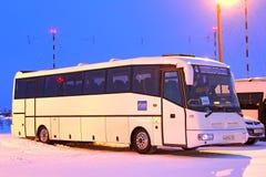 SOR LH10.5 Arktika. NOVYY URENGOY, RUSSIA - FEBRUARY 16, 2013: White SOR LH10.5 Arktika interurban coach at the city street royalty free stock image