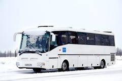 SOR LH10.5 Arktika. NOVYY URENGOY, RUSSIA - FEBRUARY 16, 2013: White SOR LH10.5 Arktika interurban coach covered by snow at the city street stock photos