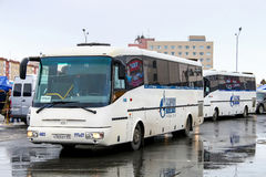SOR LH10.5 Arktika. NOVYY URENGOY, RUSSIA - MAY 9, 2016: Intercity coaches SOR LH10.5 Arktika in the city street stock photos