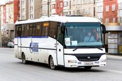 SOR LH10.5 Arktika. NOVYY URENGOY, RUSSIA - MAY 9, 2015: Interurban coach SOR LH10.5 Arktika in the city street stock images