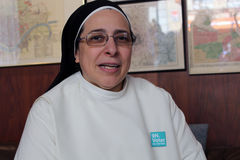 Sor Lucía Caram. Lucia Caram, the Argentinian monk working in Manresa - Catalonia. She is one of the most popular spanish public personalities on Twitter Stock Images