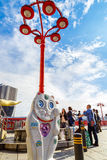 Sorachan sculpture in Tokyo. TOKYO, JAPAN - NOVEMBER 15, 2015: Sorachan is a Geidai Taito Sumida sightseeing art project that located on the side of Sumida river Stock Photo