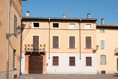 Soragna. Street and houses in Italian village outdoor Royalty Free Stock Image
