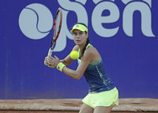 Sorana Cirstea. Of Romania pictured during her WTA Bucharest Open match against Andreea Mitu of Romania. Mitu won, 5-7, 6-2, 6-4 Stock Image