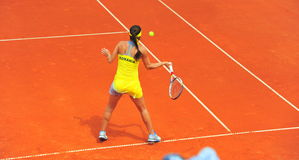 Sorana Cirstea - tennis player. Sorana Cirstea playing against Ana Ivanovic in the first game between Romania and Serbia women tennis teams Stock Photos