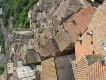 Sorano. View over the roofs of the village of sorano in tuscany, italy Stock Photos