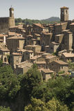 Sorano. A view of the village of Sorano in Tuscany (Italy Royalty Free Stock Photo