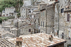 Sorano. Aerial View on the Roofs of the City of Sorano in Italy, Vintage Style Toned Picture Stock Photos