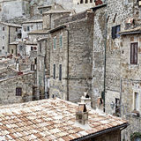 Sorano. Aerial View on the Roofs of the City of Sorano in Italy, Vintage Style Toned Picture Royalty Free Stock Photography