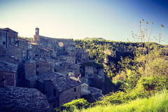Sorano afternoon, Tuscany. Sorano - historical town in afternoon, Tuscany, Italy Royalty Free Stock Photo