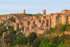 Sorano beautiful and cozy medieval town in the Grosseto of prov. Ince in southern Tuscany,Europe Royalty Free Stock Photo