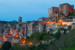 Sorano beautiful and cozy medieval town in the Grosseto of prov. Ince in southern Tuscany,Europe Stock Photography
