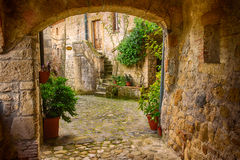 Sorano city street Royalty Free Stock Images