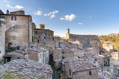 Sorano, Grosseto province, tuscany, italy. View of the medieval town on tuff rocky hill Stock Image