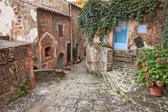 Sorano, Grosseto, Tuscany, Italy: alley in the old town. Sorano, Grosseto, Tuscany, Italy:  picturesque narrow alley with an ancient votive shrine and plants in Stock Images