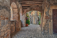 Sorano, Grosseto, Tuscany, Italy. Picturesque old narrow alley with underpass, ancient houses, plants and flowers in the medieval village Royalty Free Stock Photography