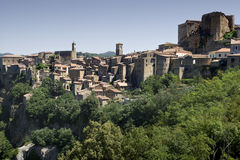 Sorano (Italy). View of the village of Sorano, in Tuscany (Italy Royalty Free Stock Image