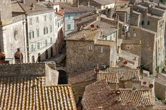 Sorano, Tuscany, Italy. Sorano, Italy - September 17, 2017: Top view of the ancient medieval village of Sorano Stock Images