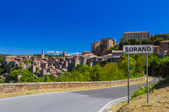 Sorano medieval town in Tuscany Italy. Architecture background Stock Image