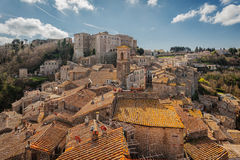 Sorano medieval town on Tuscany, Italy, Europe. Royalty Free Stock Images