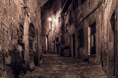 Sorano street at night. Street of ancient medieval tuff city Sorano at night  - travel european background Stock Image