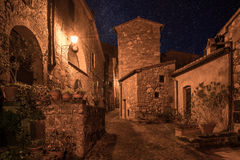 Sorano street at night. Street of ancient medieval tuff city Sorano at night  - travel european background Stock Photo