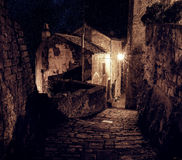 Sorano street at night. Street of ancient medieval tuff city Sorano at night  - travel european background Royalty Free Stock Photos