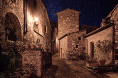 Sorano street at night. Street of ancient medieval tuff city Sorano at night  - travel european background Stock Photos