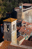Sorano. Top view of the old  famous tuff city of Sorano, province of Siena. Tuscany, Italy Royalty Free Stock Photos
