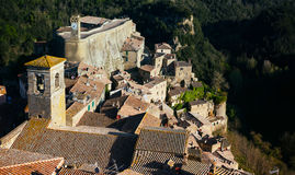 Sorano. Top view of the old  famous tuff city of Sorano, province of Siena. Tuscany, Italy Stock Image