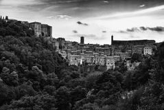 Sorano, a town built on a tuff rock, is one of the most beautifu. Panorama of Sorano, a town built on a tuff rock, one of the most beautiful villages in Italy Royalty Free Stock Image
