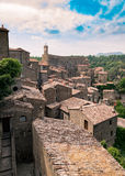 Sorano, a town built on a tuff rock, is one of the most beautifu. Panorama of Sorano, a town built on a tuff rock, one of the most beautiful villages in Italy Stock Photos