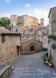 Scenic afternoon sight in Sorano, in the Province of Grosseto, Tuscany Toscana, Italy. Sorano is a town and comune in the province of Grosseto, southern Tuscany Royalty Free Stock Images