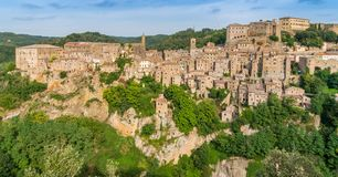 Panoramic sight of Sorano, in the Province of Grosseto, Tuscany Toscana, Italy. Sorano is a town and comune in the province of Grosseto, southern Tuscany Italy Royalty Free Stock Photography