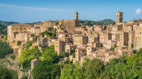 Panoramic sight of Sorano, in the Province of Grosseto, Tuscany Toscana, Italy. Sorano is a town and comune in the province of Grosseto, southern Tuscany Italy Royalty Free Stock Images