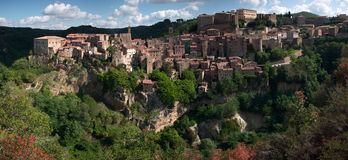 Sorano town. Medieval Sorano town in Italy. Panoramic image Royalty Free Stock Photo