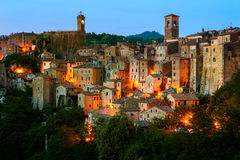 Sorano - tuff city in Tuscany. Italy. Beautiful medieval town in Tuscany, Sorano-(Grosseto, Tuscany, Italy Stock Photography