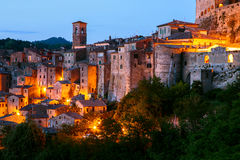 Sorano - tuff city in Tuscany. Italy. Beautiful medieval town in Tuscany, Sorano-(Grosseto, Tuscany, Italy Royalty Free Stock Photo