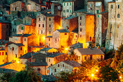 Sorano - tuff city in Tuscany. Italy. Beautiful medieval town in Tuscany, Sorano-(Grosseto, Tuscany, Italy Royalty Free Stock Images