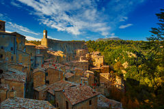 Sorano - tuff city in Tuscany Stock Photography