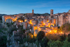 Sorano in Tuscany. Evening view of Sorano, Tuscany, Italy Royalty Free Stock Photo