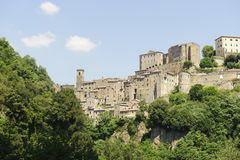 Sorano (Tuscany, Italy). Sorano (Grosseto, Tuscany, Italy), panoramic view of the medieval town Royalty Free Stock Images