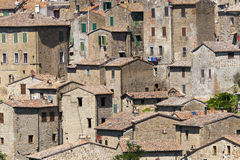Sorano (Tuscany, Italy). Sorano (Grosseto, Tuscany, Italy), panoramic view of the medieval town Stock Photos