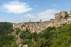 Sorano (Tuscany, Italy). Sorano (Grosseto, Tuscany, Italy), panoramic view of the medieval town Stock Image