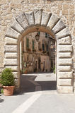 Sorano (Tuscany, Italy). Sorano (Grosseto, Tuscany, Italy), entrance through arch Royalty Free Stock Images